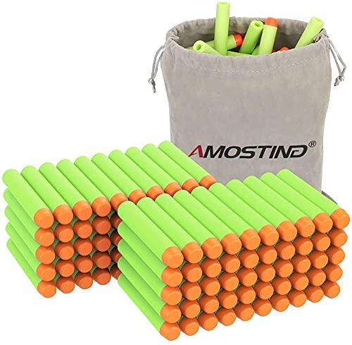 AMOSTING 100 Dardos para Nerf Pistola, 7,2 cm Verde Balas de Goma Munición de Espuma Recarga Balas para la Serie N-Zombie Elite Fortnite Strike Blasters con Bolsa de Juguete