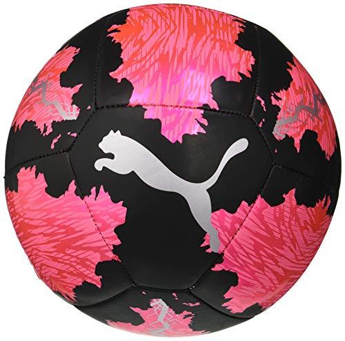 PUMA SPIN Ball Balón de Fútbol, Unisex-Adult, Luminous Pink Black Silver, 5
