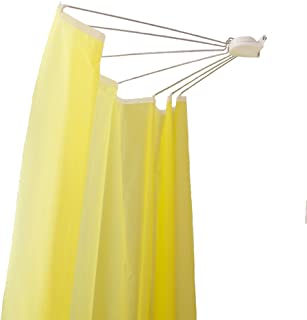 Baoyouni Foldable Wall Mounted Shower Curtain Rod Space Saver Stainless Steel Fan-shaped Bath Curtain Holder Rail 34.65''