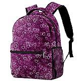 XiangHeFu Mochila pequeña para niñas niño al aire libre a pie bolsa de viaje mochila escolar Corazón en un fondo púrpura Mochila estampada