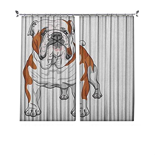 Cortinas plisadas con aislamiento térmico inglés Bulldog, diseño de perro musculoso con dibujo ilustración de animales caninos de raza pura, para travesaños y rieles, color marrón y blanco