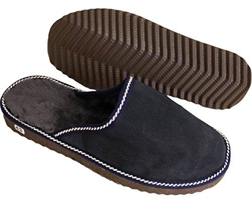Sonia Originelli Herren Lammfell Pantoffel Puschen echt Leder Schaffell Marine Blau B630H-N (44)