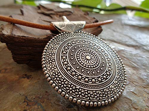 ✿ AMULET MANDALA GRANDE NATURALE ✿ colletto beige, collana in pelle