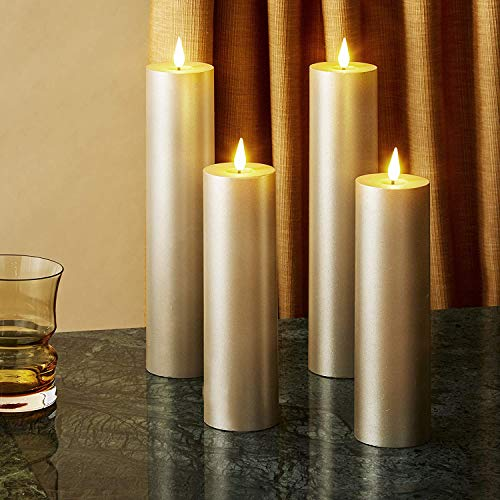 Slim Gold Flameless Candles - 2 Inch Diameter Pillar Candles, Flickering 3D Flame with Wick, Battery Operated, Real Wax, Christmas Home Decor, Remote Control & Timer Included - 4 Pack