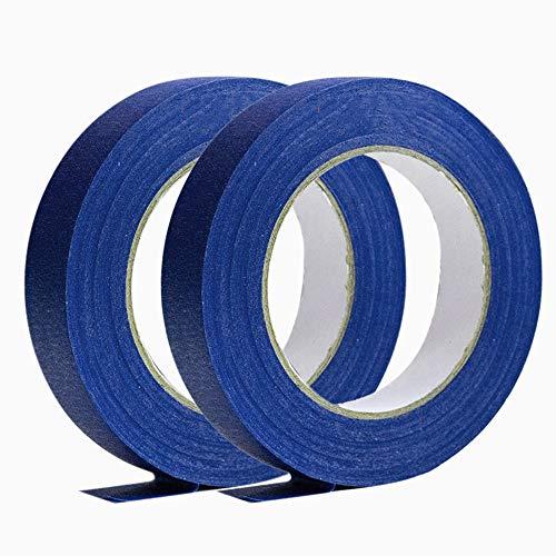 2 Rollo Cinta de Enmascarar Azul para Interior y Exterior, Multifuncional Cinta de Carrocero para Etiquetas, Empaques, Decoración, Paredes, Vidrio, 12 mm x 20 m