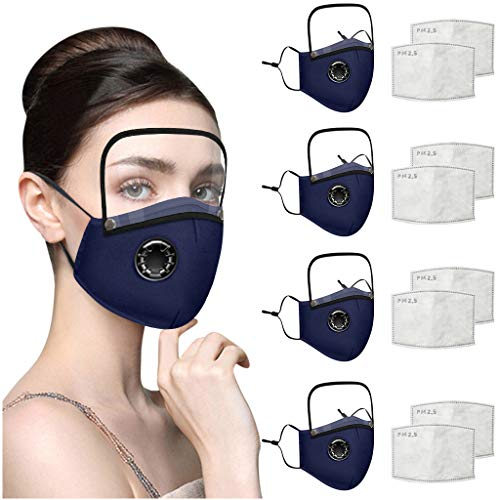 Reusable Face Covering with Breathing Valve Filter And Detachable Eye Shield Seamless Face Bandanas For Adults and Kids 3