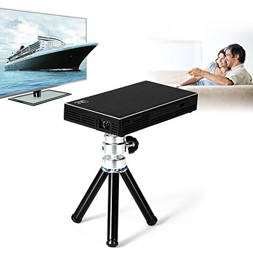 """ICopter Mini DLP Projector Full Color 130"""" Entertainment Home Cinema Theater Portable Pico Projectors 854x480 50 Lumens Optical Keystone USB HDMI Interface Video Games Movie Night"""