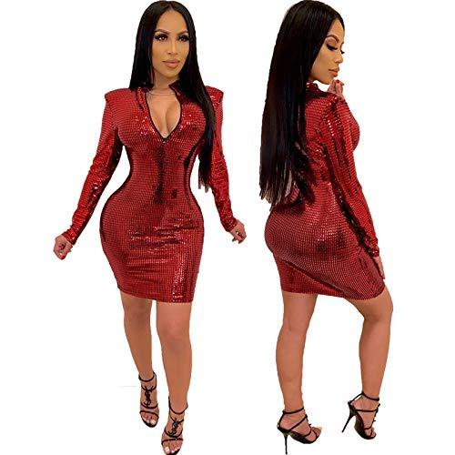 Baige Modische sexy Kleider, glänzende, hochelastische, bronzierte Langarm-Bustierkleider, Bankett-Clubkleider und Abendkleider