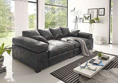 Reboz Big Sofa Vintage schwarz Hellbraun Dunkelbraun Megasofa (Vintage Schwarz)