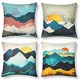 AYUNK Juego de 4 Fundas de cojín Decorativas de Lino y algodón Fundas de Almohada cuadradas Fundas de Almohada de Acuarela para sofá sofá Sala de Estar (montaña), 45 x 45 cm