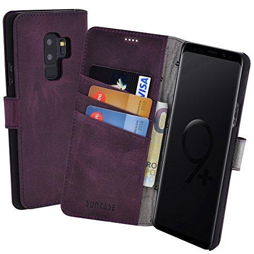 Suncase Book-Style (Slim-Fit) für Samsung Galaxy S9 Plus Ledertasche Leder Tasche Handytasche Schutzhülle Hülle Hülle (mit Standfunktion & Kartenfach) antik lila
