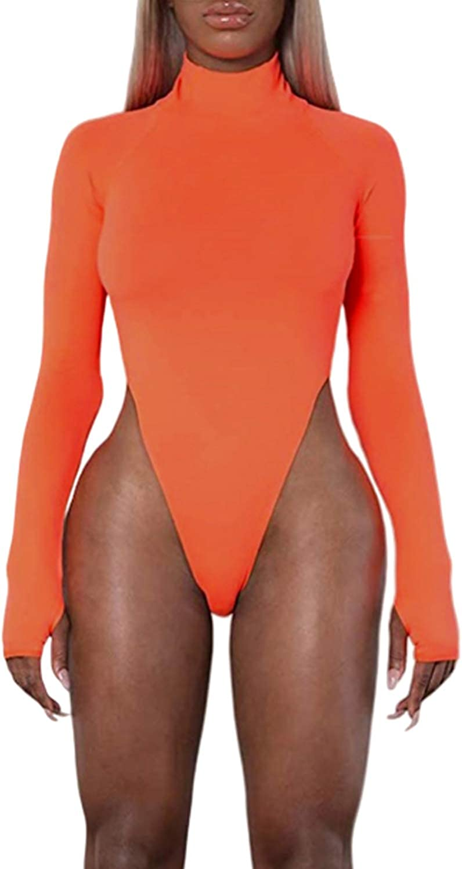 PRIMODA Women's Bodycon Long Sleeves High Cut Turtleneck Bodysuit Sexy Leotard Top Clubwear with Thumb Hole