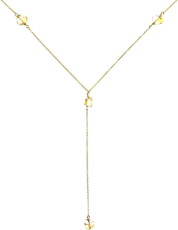 Handmade 14-kt Gold-FilledBrass Y Necklace with Tumbled Gemstone, 20