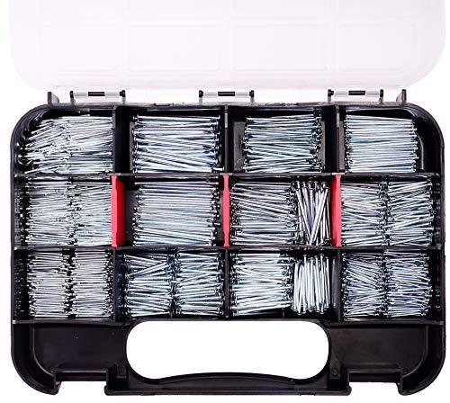 HongWay 1500pcs Hardware Nail Assortment Kit, Galvanized Nails, 12 Size Wire and Brad Nails Assortment