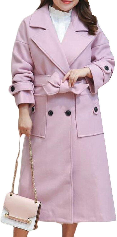 XFuture Women Plus Size Lapel Button WoolBlend DoubleBreasted Pea Coat Multicolor