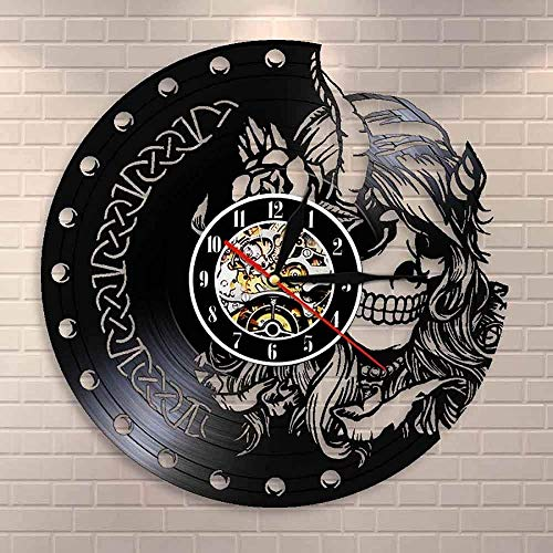 Reloj de pared de vinilo mudo de cuarzo, reloj de pared mágico y misterioso nórdico, reloj de pared de vinilo para discoteca, belleza, mujer vikinga, cabeza de calavera, chica, reloj de pared Retro