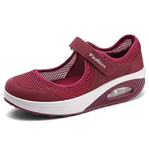 Sandalias para Mujer Malla Merceditas Plataforma Ligero Zapatillas Sneaker Mary Jane Casual Zapatos de Deporte Mocasines Negros Verano A-Rojo-2 EU37