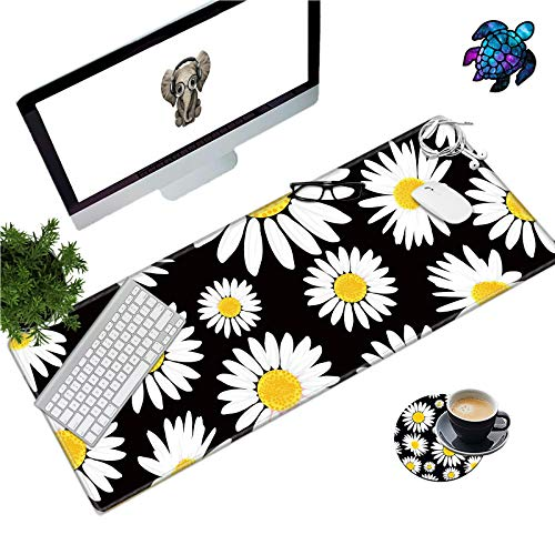Large Gaming Mouse Pad with Stitched Edges, Extended Mousepad with Coasters and Stickers, Non-Slip Base, Water Resist Keyboard Pad, Desk Mat for Gamer/ Office/ Home, 31.5 x 11.8 in, Cute Daisy Floral