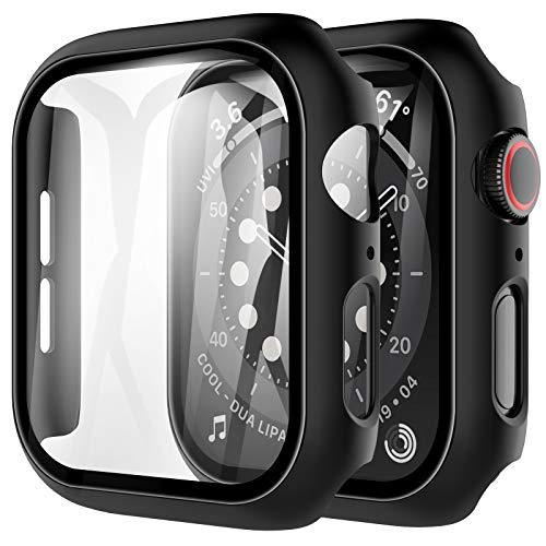 LK Cover Compatibile con Apple Watch 44mm SE Series 6 Series 5 Series 4 Pellicola Protettiva, 2 Pezzi,HD Clear Rigida Vetro Temperato per iWatch 44mm Cover Custodia- Nero