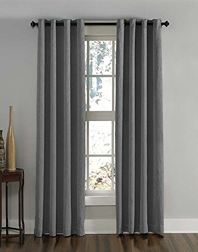 "Curtainworks Lenox Curtain Panel, 144"", Grey"