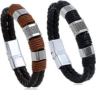 Magnetic Man Charm Masculinity Leather Bracelet, Stylish Braided Mens Bracelets Wrist, Magnetic-Clasp Leather Bracelets fo...