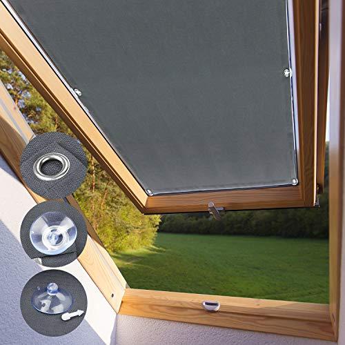 KINLO Skylight Tenda Oscurante P08 e 408-76 x 115 cm Grigio Tenda a Rullo Adatta per Finestre per Tetti Termica per Finestre con Struttura Tazze di Aspirazione
