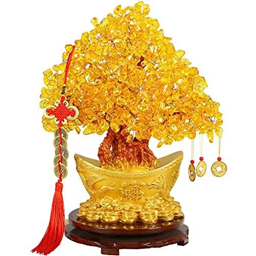 FVDS Árbol de Dinero de Cristal, Citrino Feng Shui Dinero de Dinero Chino dragón árbol Riqueza Buena Suerte Salud deseando árbol árbol Afortunado árbol para la Base de la Oficina en casa