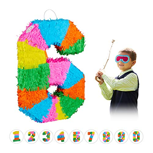 Relaxdays Pinata Geburtstag, Zahl 6, zum Aufhängen, Kinder & Erwachsene, Papier, zum selbst Befüllen, Piñata, bunt
