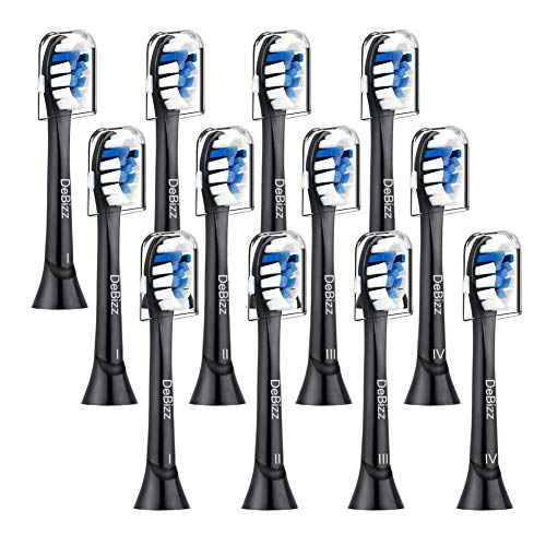 Replacement Toothbrush Heads,12 Pcs,Compatible with Black Sonic 4100 Toothbrush, Plaque Control 2 Series 3 Series Brush, Electric Toothbrush and Most Snap On Brush Heads(Black)