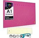 OfficeTree® Set de Estera para Corte - 90x60 cm (A1) Púrpura + Cortador rotatorio + Regla 60 x 16 cm Trabajos de Corte Profesionales