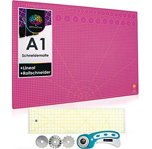 OfficeTree A1 Kit Tapis de Decoupe Autocicatrisant - Plaque de Découpe 90x60 cm Rose + Cutter Rotatif + Règle 60x16 cm - Tapis Decoupe Couture Pour Découpages Professionnels