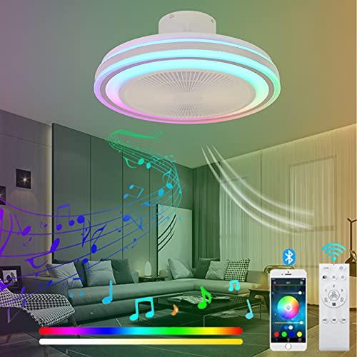 VOMI Ventilador de Techo con Luz Lámpara y Mando a Distancia Timing Silencioso Ventilador de Luz de Techo RGB Cambios de Color Velocidad del Viento Ajustable Regulable LED Iluminación para Cua