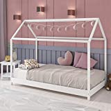 Panana Wooden Kids House Bed Frame, Solid Pine WoodTreehouse Style Childrens Floor Bed