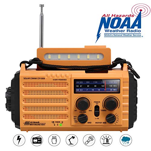 Zonne-handslinger Draagbare NOAA-weerradio, 5-wegs Aangedreven AM/FM/SW Noodradio voor Thuis en Buitenshuis met 2000 mAh Batterijbank, USB-oplader, LED-zaklamp, Leeslamp, SOS-alarm en Kompas