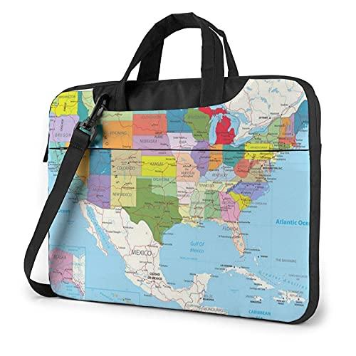 Funda para portátil con Mapa de Carreteras político de EE. UU, Bolso de Neopreno Lindo Elegante de 14 Pulgadas