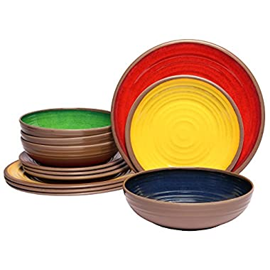 Melange 612409791344 12-Piece 100% Melamine Dinnerware Set (Clay Collection ) | Shatter-Proof and Chip-Resistant Melamine Plates and Bowls | Color: Multicolor | Dinner Plate, Salad Plate & Soup Bowl (4 Each)