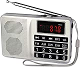 Tivdio TR603 Radios Portable AM FM, Shortwave Radio with Best Reception, Digital Radio Support TF, USB, AUX Input, Operated by Big Buttons or Knob(Silver)