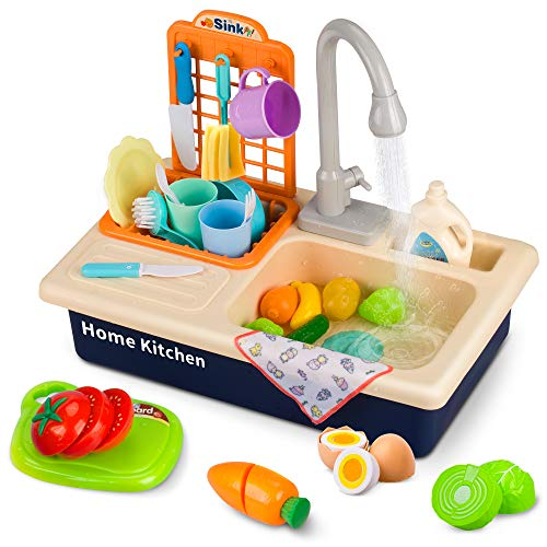 Growthpic Play Kitchen Sink Toys Pretend Play Electric Dishwasher With Running Water Kids Kitchen Accessories