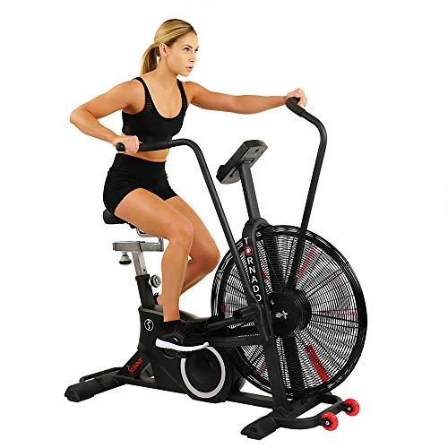 Sunny Health & Fitness Exercise Fan Bike with Bluetooth Heart Rate Compatibility