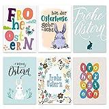 Papierdrachen 12 Osterkarten zum Sammeln und Verschicken - liebevoll gestaltetes Postkarten Set Pastell - Grußkarten Set 1 - Ostern 2020