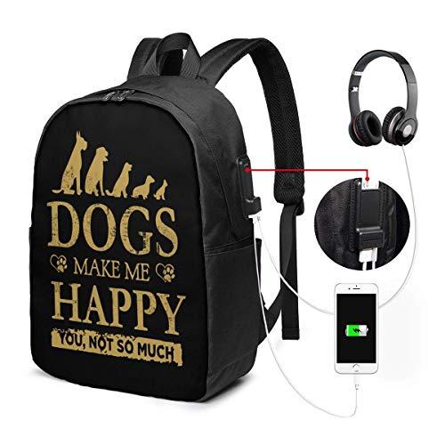 RROOT Unisex Rugzak met USB Opladen Poort Honden Maak Mij Gelukkig U Niet Zo Veel-2 Klassieke Mode Algemene Zakelijke Boekenkast