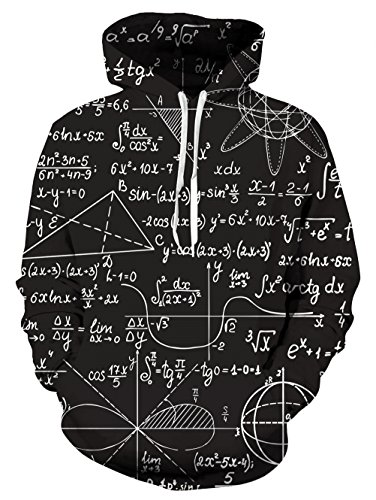 Uideazone Men Women Geometric Numbers Pullover Hoodie Cool Hooded Sweatshirts Black