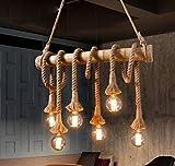 WINSOON - Lámpara Colgante de Cuerda de Cáñamo Industrial Vintage, 1 luz, Apta Para Comedor, Sala de Estar, Pasillo, Bar, Restaurante (BOMBILLA NO INCLUIDA)