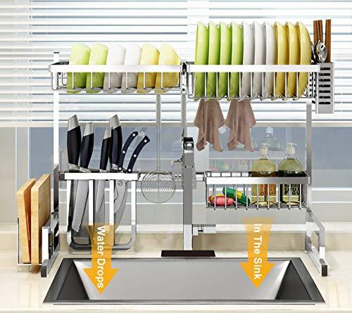 Sink dish drying rack, space saver dish drying rack, over the kitchen sink dish drainer drying rack,your kitchen aide silver dish drying rack(For sink ≤24.6 inch)