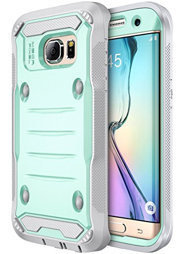 E LV Case for Galaxy S7 Edge Case Armor Protection Defender (Without Built-in Screen Protector) Case for Samsung Galaxy S7 Edge - [Mint/Grey]
