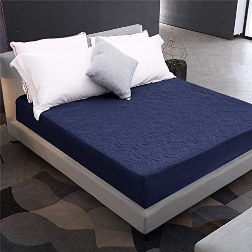 IUYJVR Solid Color Waterproof Mattress Pad Cover Fitted 30cm&12in Deep Pocket,Noiseless Breathable Smooth Mattress Protector(Not Included Pillowcase) Navy Blue 150x200cm(59x79inch)