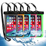 5 Pack Universal Waterproof Phone Pouch, Large Phone Dry Bag Waterproof Case for Apple iPhone Pro Xs XR XS 13 12 11 10 9 8 7 6 Plus,SE, Samsung S10 S10+ S9+ S9 S8+,Note,up to 6.5'