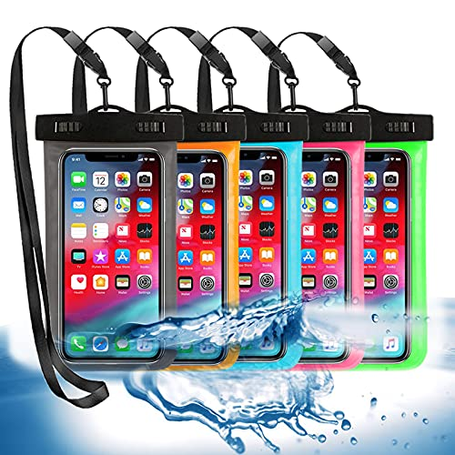 """5 Pack Universal Waterproof Phone Pouch, Large Phone Dry Bag Waterproof Case for Apple iPhone Pro Xs XR XS 12 11 10 9 8 7 6 Plus,SE, Samsung S10 S10+ S9+ S9 S8+,Note,up to 6.5"""""""