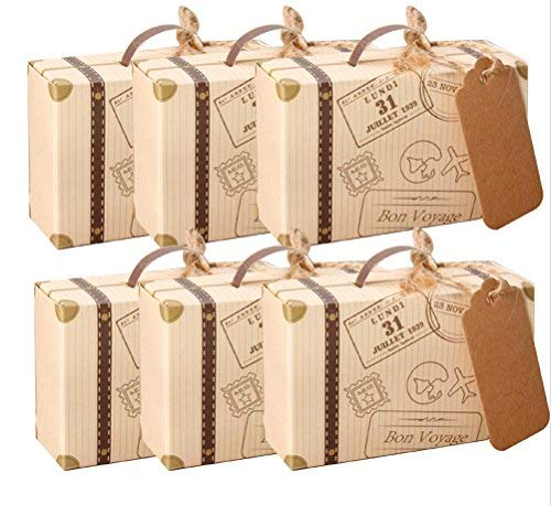 AmaJOY Mini-koffer, gastgeschenkdoos voor bruiloften, met label van kraftpapier en linnen, snoepdoosje voor verjaardagsfeest/babyparty/bruiloftsdecoratie, 50 stuks