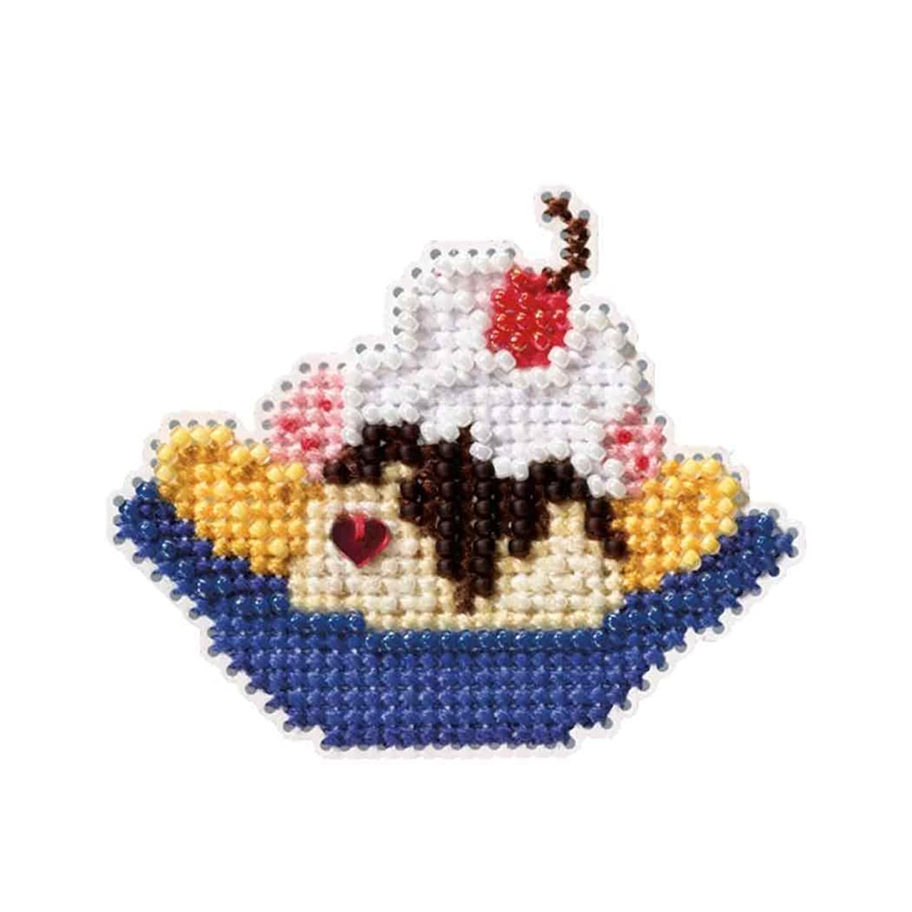 Banana Split Beaded Counted Cross Stitch Ornament Kit Mill Hill 2009 Spring Bouquet MH18-9105